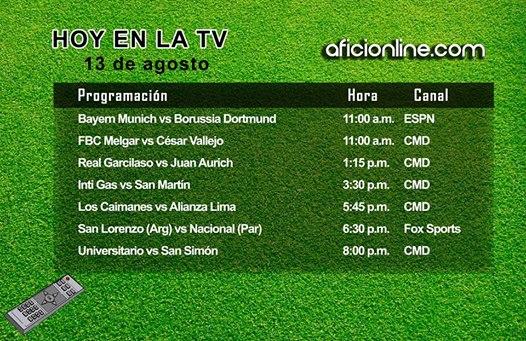 Programación televisiva del miércoles 13 de agosto (Gráfica: Johnny López / Aficionline.com).