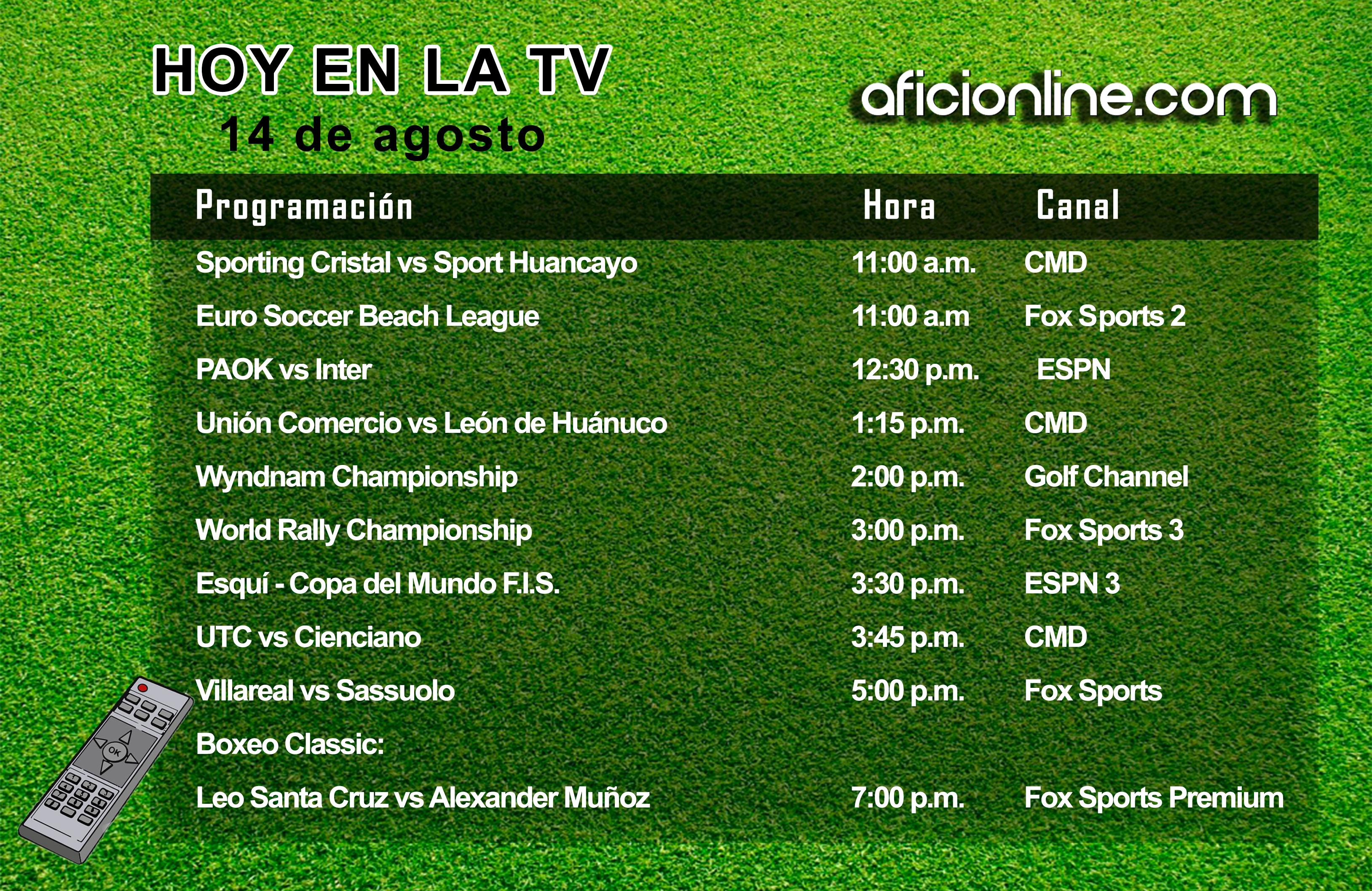 Programación televisiva del jueves 14 de agosto (Gráfica: Johnny López / Aficionline.com).