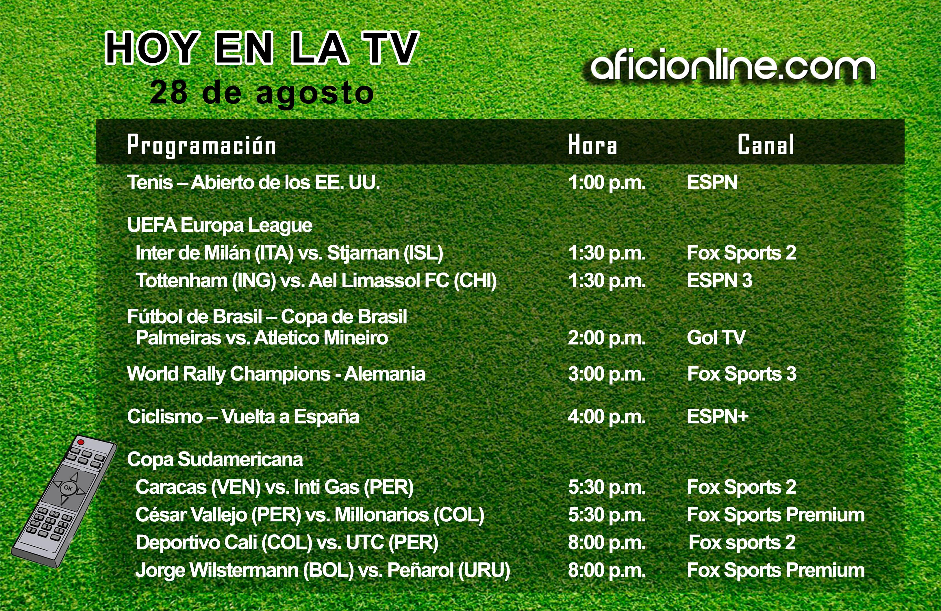 Programación televisiva del jueves 28 de agosto (Gráfica: Johnny López / Aficionline.com).