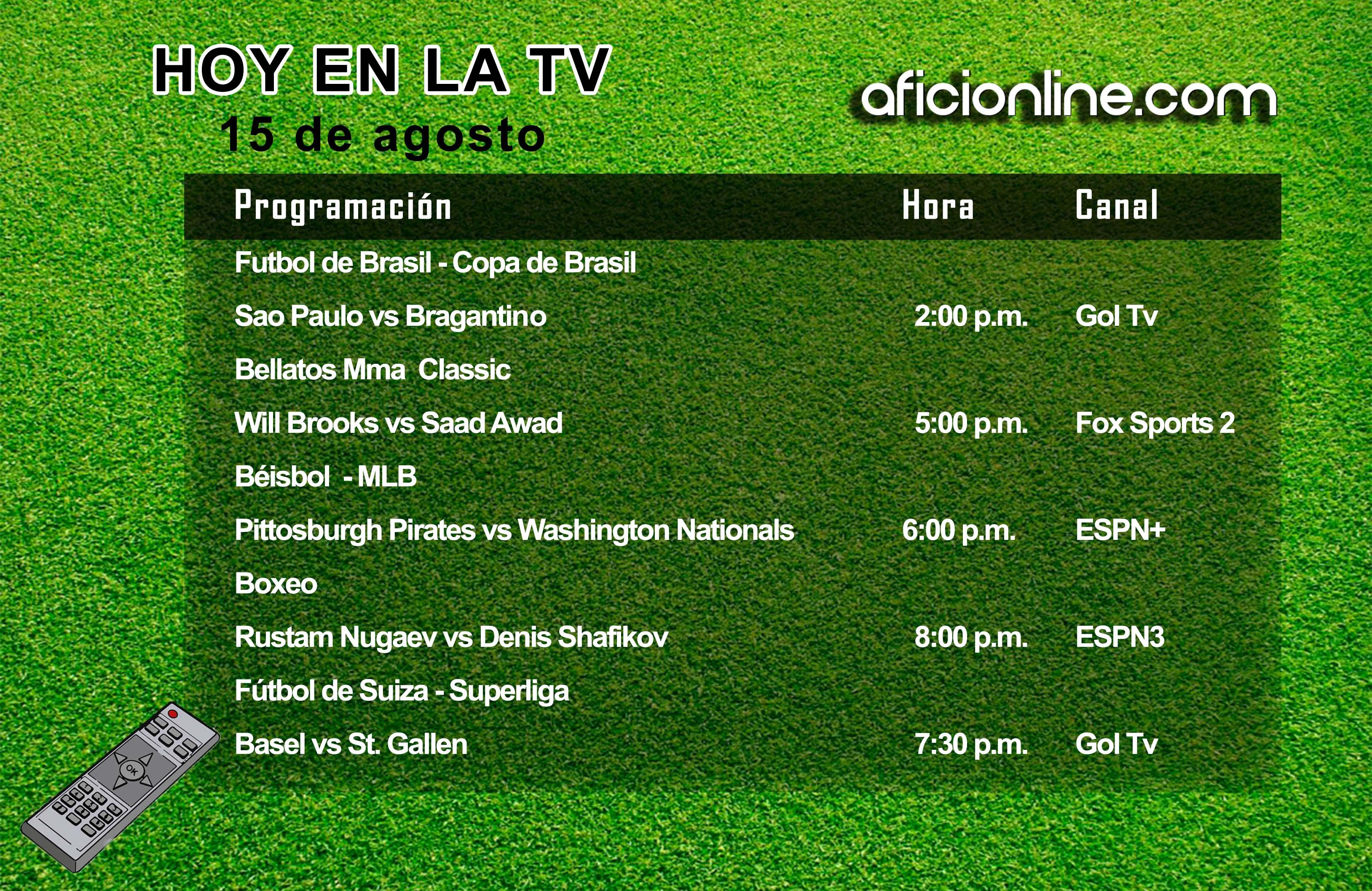 Programación televisiva del viernes 15 de agosto (Gráfica: Johnny López / Aficionline.com).