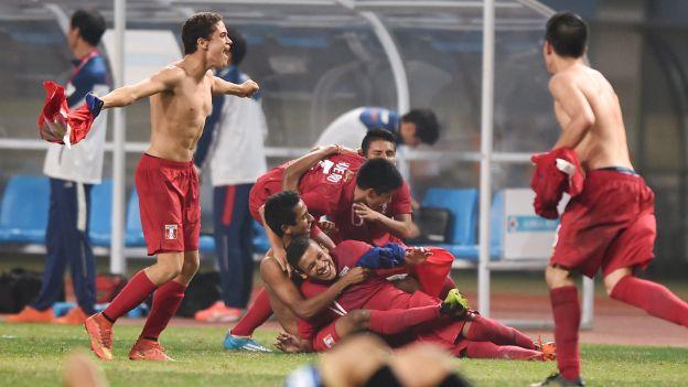 Así celebraron el segundo gol que les dio la presea de oro en los JJ.OO Nanjing 1014 (Foto: Depor.pe).