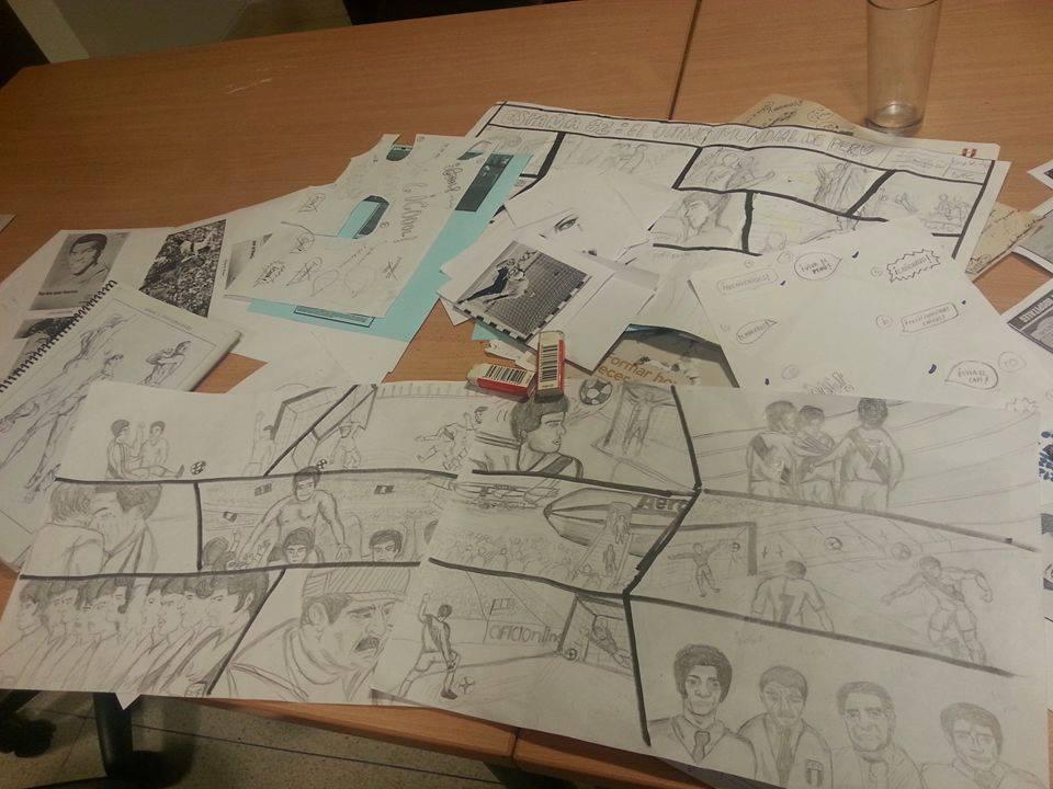 Storyboard del cómic España 82: Perú rumbo al mundial